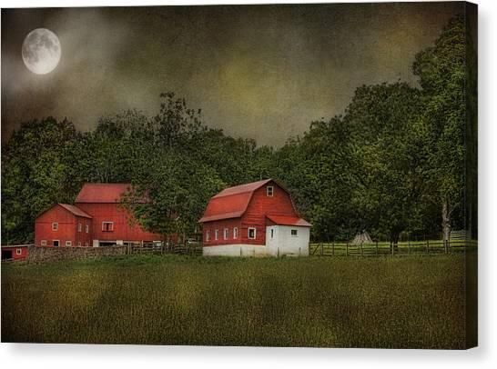 Full Moon At Buffalo Hollow Farm Canvas Print