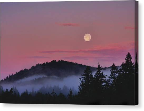 Full Moon At Dawn Canvas Print