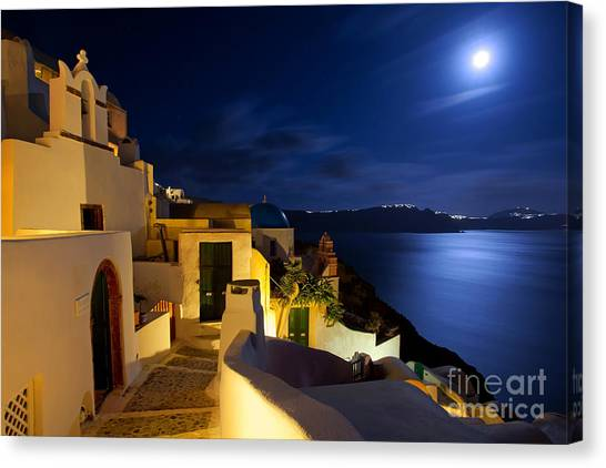 Full Moon At Santorini Canvas Print