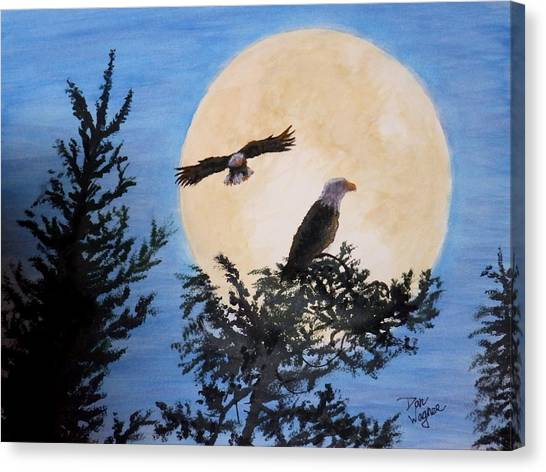 Full Moon Eagle Flight Canvas Print