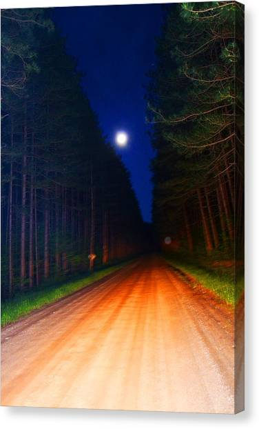 Full Moon In Forest Canvas Print by Valarie Davis