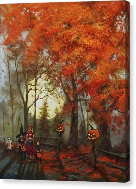 Halloween Canvas Print - Full Moon On Halloween Lane by Tom Shropshire