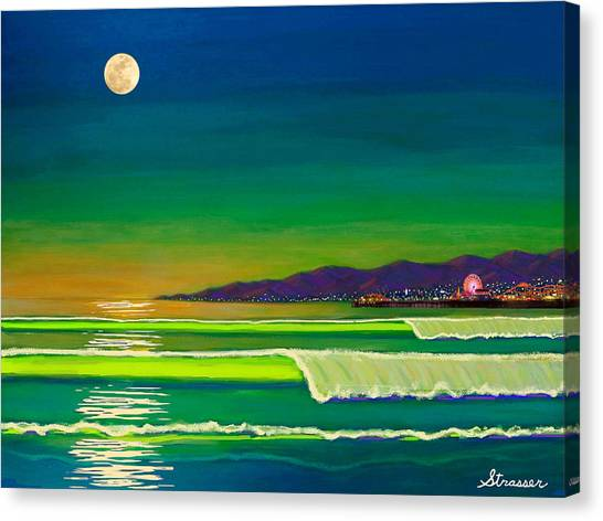 Venice Beach Canvas Print - Full Moon On Venice Beach by Frank Strasser