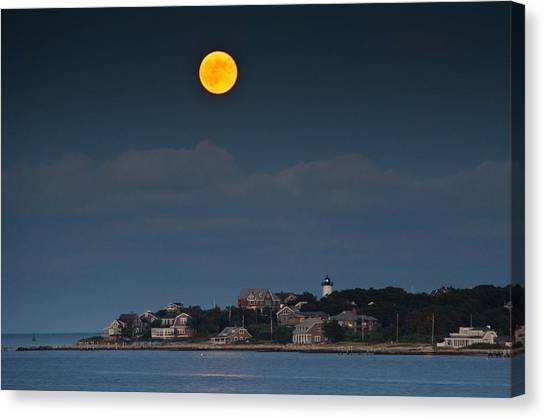 Marthas Vineyard Canvas Print - Full Moon Over East Chop by Steve Myrick