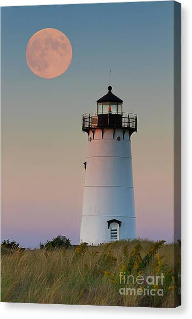 Lighthouses Canvas Print - Full Moon Over Edgartown Lighthouse by Katherine Gendreau