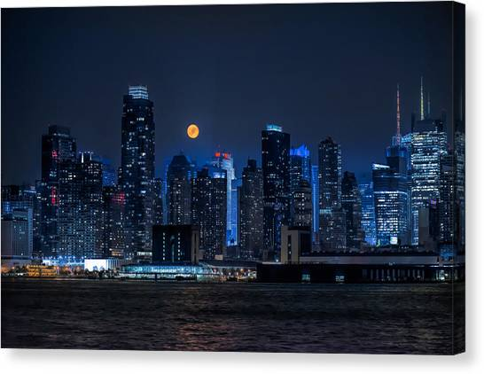 Full Moon Over New York City Canvas Print