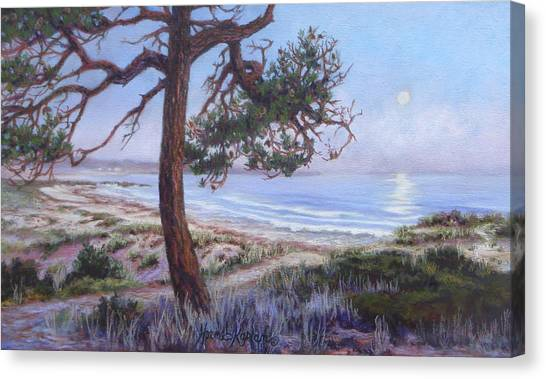 Full Moon Over Pebble Beach Canvas Print