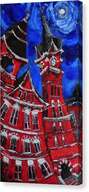 Auburn University Canvas Print - Full Moon Over Samford by Carole Foret