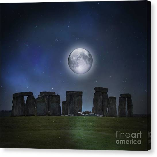 Full Moon Over Stonehenge Canvas Print