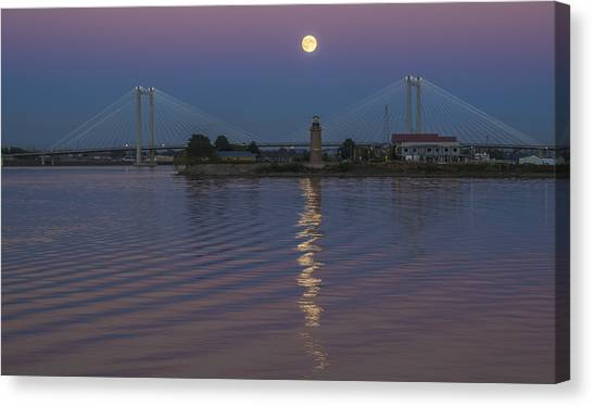 Full Moon Over The Cable Bridge Canvas Print