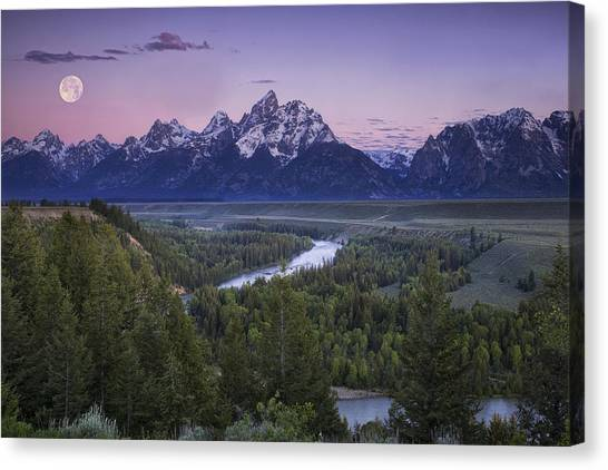 Teton National Forest Canvas Print - Full Moon Over The Mountains by Andrew Soundarajan