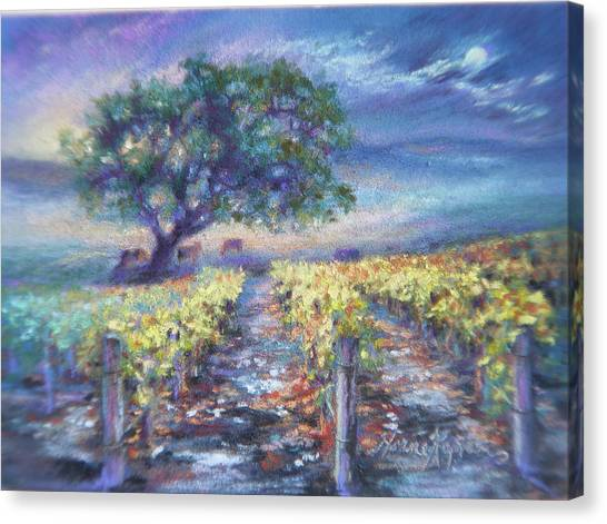 Full Moon Over The Vineyard Canvas Print