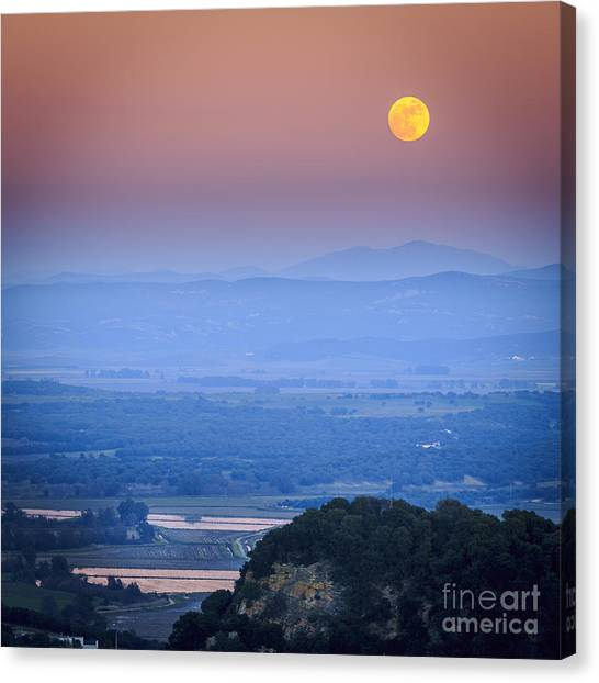 Full Moon Over Vejer Cadiz Spain Canvas Print