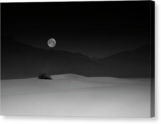 White Sand Canvas Print - Full Moon Over White Sands by Lydia Jacobs