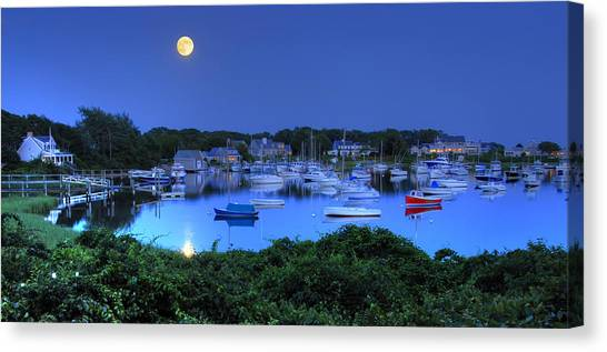 Full Moon Over Wychmere Harbor Canvas Print by Ken Stampfer