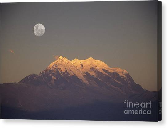 Bolivian Canvas Print - Full Moon Rise Over Mt Illimani by James Brunker