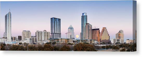 Colorado State University Canvas Print - Full Moon Rising Behind Downtown Austin Skyline Texas by Silvio Ligutti