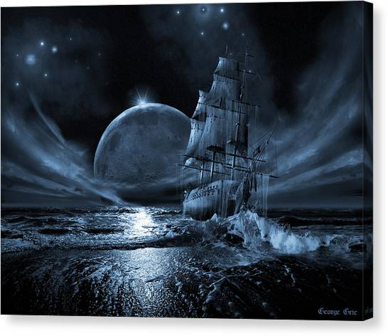 Moonlight Canvas Print - Full Moon Rising by George Grie