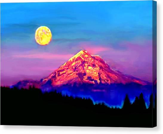 Full Moon Rising Over Mount Hood Oregon Canvas Print