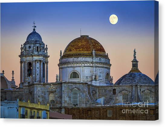 Full Moon Rising Over The Cathedral Cadiz Spain Canvas Print