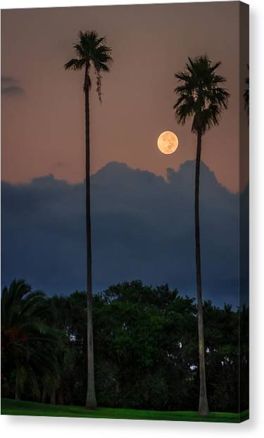 Full Moon Setting Canvas Print