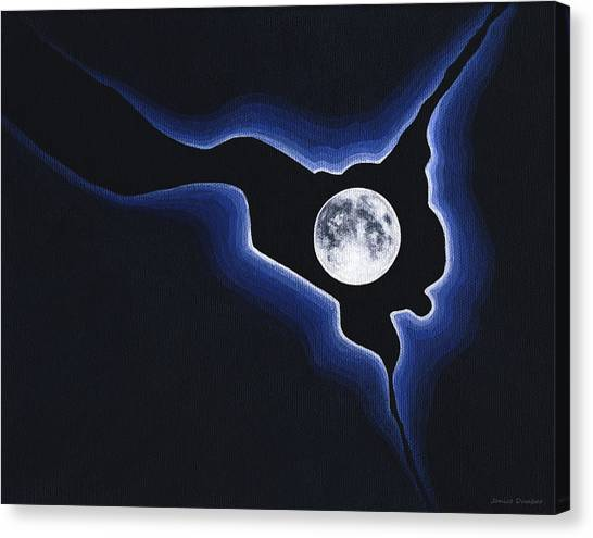 Full Moon Silver Lining Canvas Print