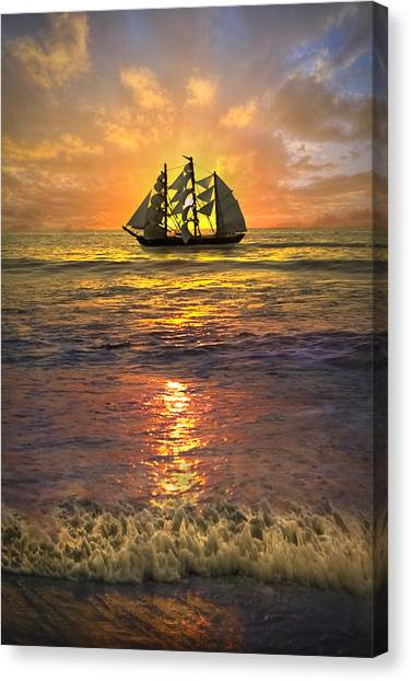 Stuart Canvas Print - Full Sail by Debra and Dave Vanderlaan