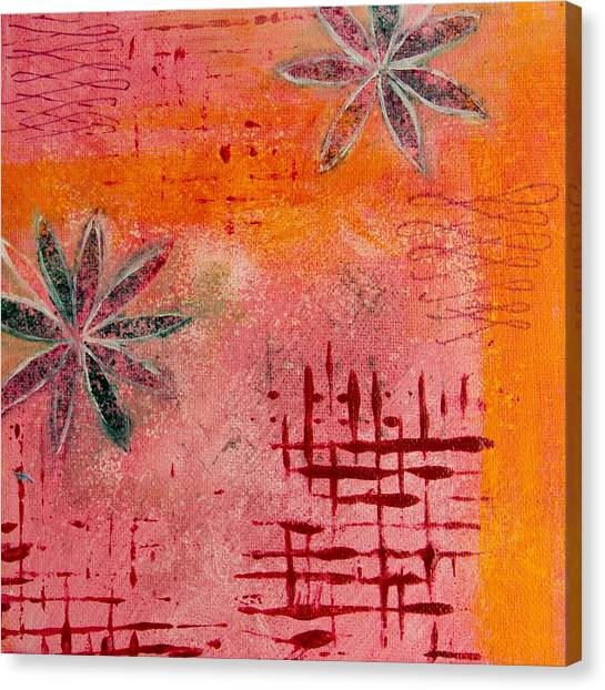 Fun Flowers In Pink And Orange 2 Canvas Print