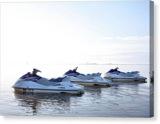 Jet Skis Canvas Print - Fun In Navarre by JC Findley