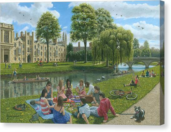 Weeping Willows Canvas Print - Fun On The River Cam Cambridge by Richard Harpum