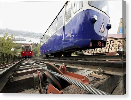 Vladivostok Canvas Print - Funicular Railway In Vladivostok by Science Photo Library