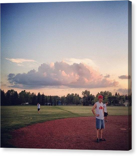 Softball Canvas Print - Funky #cloud Over The Big Firm (cc by Robyn Chell