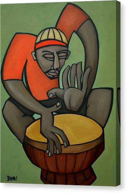 Djembe Canvas Print - Funky Drummer 1 by Charles Bevel