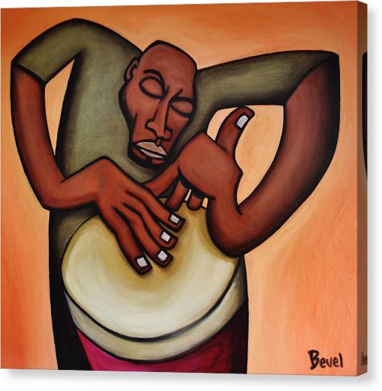 Djembe Canvas Print - Funky Drummer 2 by Charles Bevel