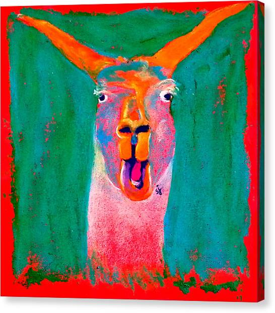 Funky Llama Art Print Canvas Print