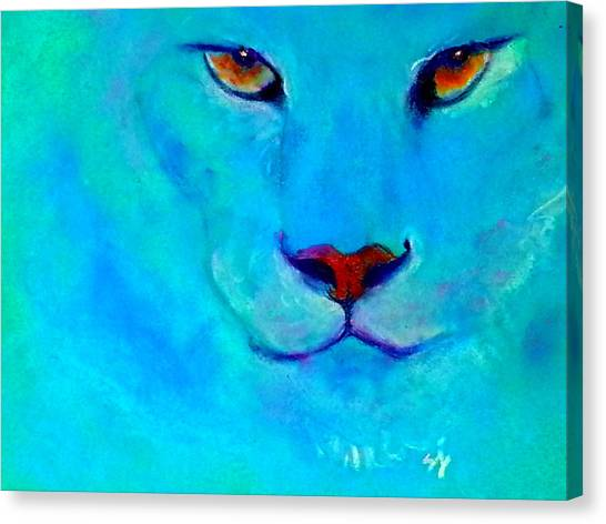 Funky Snow Leopard Turquoise Canvas Print
