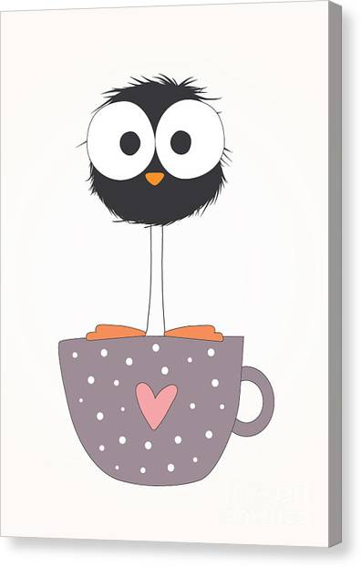 Humorous Canvas Print - Funny Bird On A Cup Illustration by Mers1na