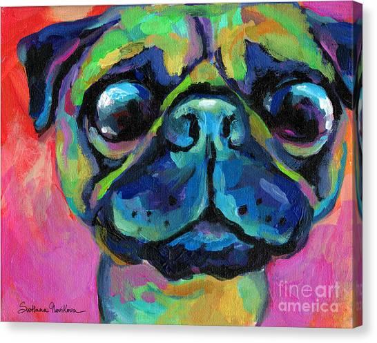 Canvas Print - Funny Bug Eyed Pug  by Svetlana Novikova