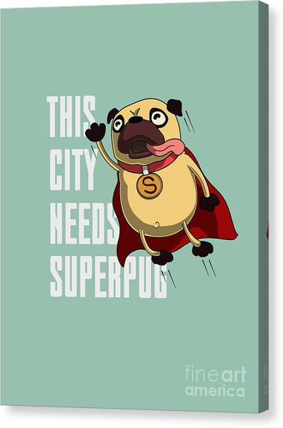 Speed Canvas Print - Funny Cartoon Character Pug Design For by Just draw