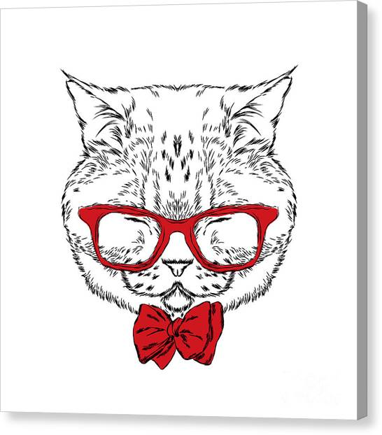 Watercolor Pet Portraits Canvas Print - Funny Cat In A Tie And Glasses. Vector by Vitaly Grin
