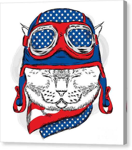 Clothing Canvas Print - Funny Cat In The Hat And Scarf. Vector by Vitaly Grin