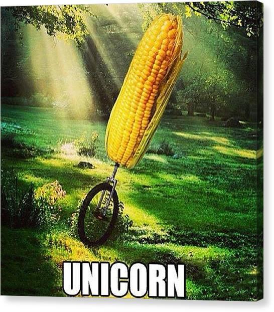 Unicorns Canvas Print - #funny #comedy #joke #corn #unicorn by Ashley Chambers