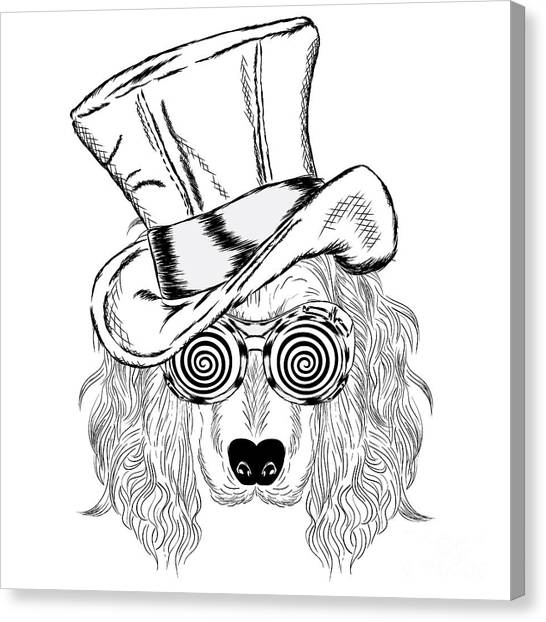 Clothing Canvas Print - Funny Dog In An Unusual Hat And by Vitaly Grin