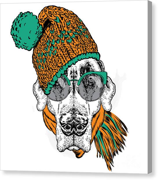 Winter Fun Canvas Print - Funny Dog In Hat, Scarf And Glasses by Vitaly Grin