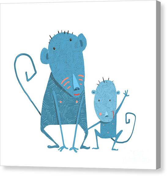 Primates Canvas Print - Funny Kids Monkey Characters Mother And by Popmarleo