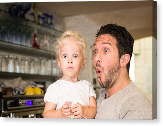 Funny Portrait Of Father And Daughter Canvas Print by - Locrifa -