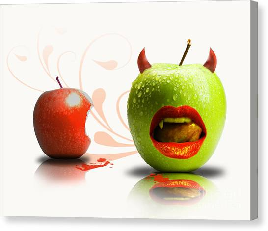 Teeth Canvas Print - Funny Satirical Digital Image Of Red And Green Apples Strange Fruit by Sassan Filsoof