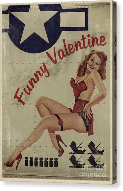 Pin-up Canvas Print - Funny Valentine Noseart by Cinema Photography
