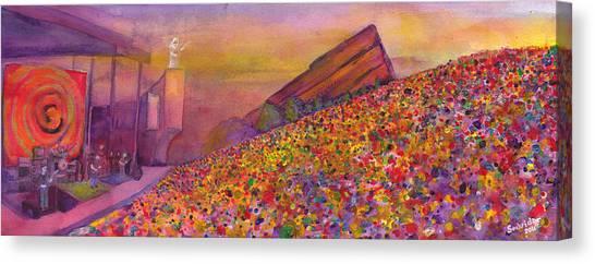 Grateful Dead Canvas Print - Furthur At Redrocks 2011 by David Sockrider