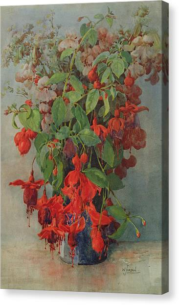 Snapdragons Canvas Print - Fushia And Snapdragon In A Vase by William Jordan